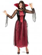 Elegante Halloween Vampirin Damenkostüm schwarz-rot