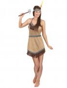 Indianerin Kostüm Squaw beige-braun-blau