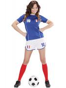 Französische Fußballspielerin Frankreich-Damenkostüm blau-weiss-rot
