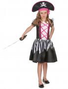 Furchtlose Piratin Kinderkostüm pink-schwarz-weiss