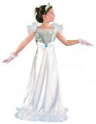 Edle Prinzessin Mädchenkostüm mit Pailletten weiss-silber-blau