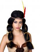 Indianer Damenperücke Squaw Perücke mit Zöpfen und Haarband schwarz