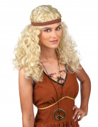Hippie Damen-Perücke Locken blond