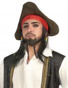 Piraten Perücke mit Hut schwarz-bunt