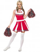 Süsses Cheerleaderin Damenkostüm rot-weiss