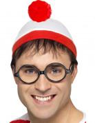 Mütze mit Brille wo ist Walter Kostümaccessoire weiss-rot