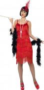 20er Charleston Can Can Jazz Damenkostüm Fransenkleid rot-glänzend