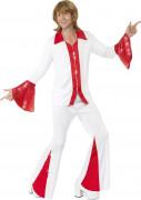 Disco Herren-Kostüm pailletten weiss-rot