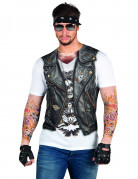 Tätowierung Motorradfahrerjacke Erwachsenen-T-Shirt Biker-Shirt bunt