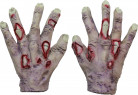 Halloween Zombie-Handschuhe grau-weiss-rot