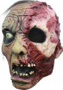 Verbrannter Zombie Halloween-Maske beige-rot