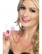 Halskette mit Penis-Schnapsglas Junggesellinnen-Abschied transparent-rosa