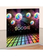 Disco-Wanddeko Discokugeln und Tanzfläche schwarz-bunt 165x165cm