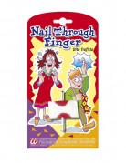 Scherzartikel blutiger Nagel durch den Finger