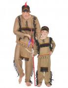 Indianer-Partnerkostüm für Vater und Sohn Karneval braun-schwarz
