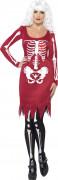 Skelett-Kleid Halloween-Damenkostüm rot-weiss