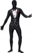Erschossener Gangster Second-Skin-Suit schwarz-weiss-rot