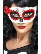 Sugar Skull Halloween Augenmaske weiss-rot