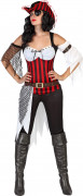 Piraten-Damenkostüm Freibeuterin rot-schwarz-weiss