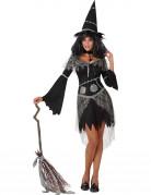 Sexy Märchen-Hexe Damenkostüm schwarz-grau