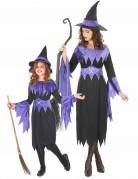 Hexen-Kostüm Paarkostüm für Mutter und Tochter Halloween schwarz-violett