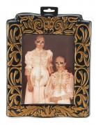 Horror-Portrait Skelette Halloween-Bild gold-schwarz 20x25cm