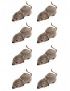 Haarige Mäuse Halloween Deko 8er-Set grau 5cm