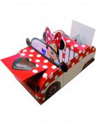 Lizenz Pappschachtel Minni Mouse im flotten Flitzer Dekoration rot-weiß 12 cm x 20 cm x 8 cm