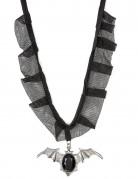 Gothic Fledermaus Halsband mit Edelstein schwarz-silber