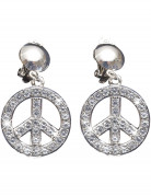 Hippie Strass-Ohrringe Peace silber