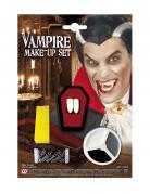 Vampir Make Up-Set mit Zähnen weiss-grau-schwarz