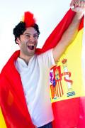 Spanien-Fanset Umhang und Perücke 2-teilig rot-gelb