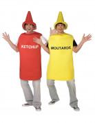Senf-Ketchup-Paarkostüm für Erwachsene Fasching rot-gelb