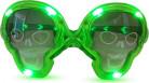 Totenkopf Halloween-Brille mit LEDs grün