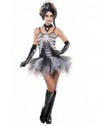 Süsses Skelett Petticoat-Kleid Halloween Damenkostüm grau-weiss