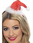 Miniatur Glitzer-Hut Weihnachtsfrau rot-weiss
