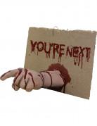 Halloween-Schild mit blutiger Hand You
