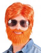 Holzfäller-Herrenperücke mit Vollbart orange