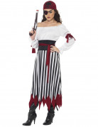 Piratin-Damenkostüm Freibeuterin rot