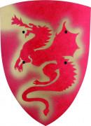 Ritter Schutzschild mit Drachenmuster für Kinder rot-gold 27x37cm