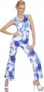 70er Disco JumpsuitDamenkostüm Hosenanzug blau-weiss