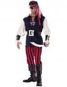 Cooler Pirat Herrenkostüm schwarz-rot und weiss