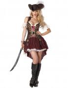 Sexy Piratin-Damenkostüm Steampunk braun-rot-weiss