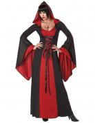 Geheimnisvolle Hexe-Damenkostüm Vampirlady schwarz-rot