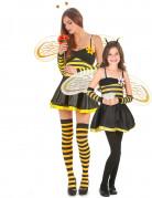 Bienen-Paarkostüm für Mutter und Tochter Karneval gelb-schwarz