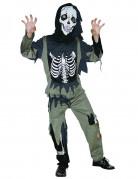 Skelett-Kostüm für Kinder Halloweenkostüm schwarz-oliv