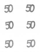 Konfetti Buttons Geburtstag Zahl 50 glitzer silber 10g