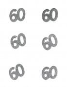 Tischdeko Geburtstag 60 Jahre Konfetti 6 Stück Glitzer silber 4,5x5cm 10g