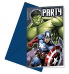 Einladungskarten Lizenzartikel Avengers mit Umschlägen 6 Stück blau-grün