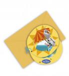 Disney Frozen Einladungskarten Olaf Kinderparty-Deko 6 Stück bunt 10x11cm